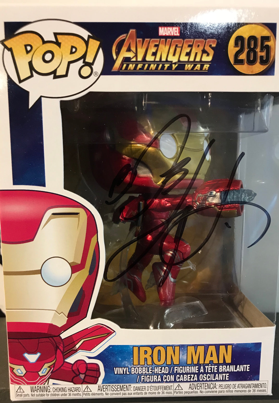 POP AVENGERS INFINITY WAR IRON MAN VINYL FIG - SIGNED BY BOB LAYTON