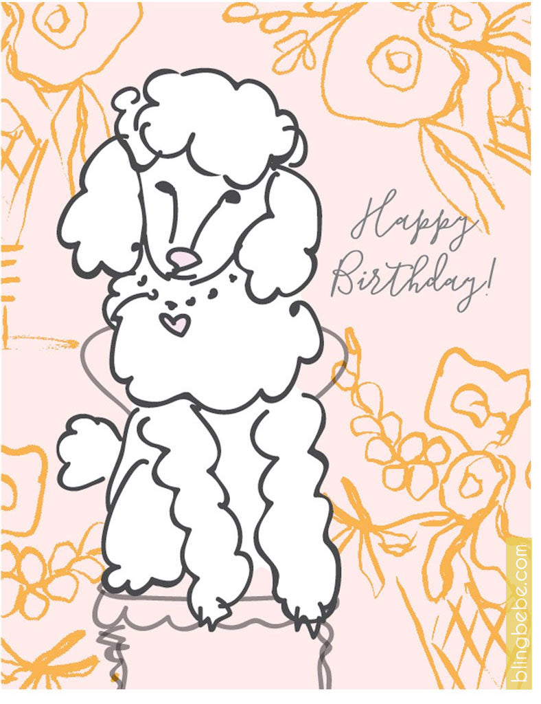 Sweet Poodle Birthday Card by Blingbebe
