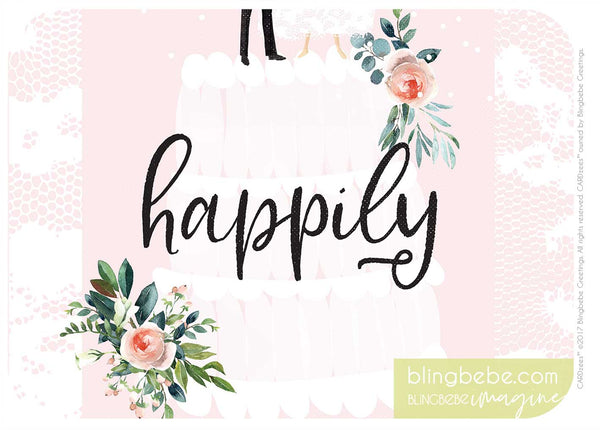 HAPPILY-wedding cake - CARDzees™ single