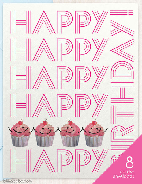 Happy Birthday Cupcakes Box Set - blingbebe shop ::: greetings that shine  - 1