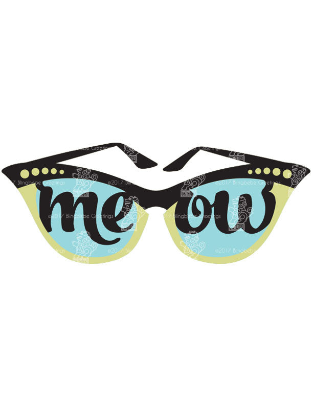 SVG Cat Eye Glasses Digital Download