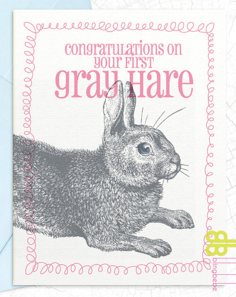 Congratulations on Your First Gray Hare - blingbebe shop ::: greetings that shine  - 1