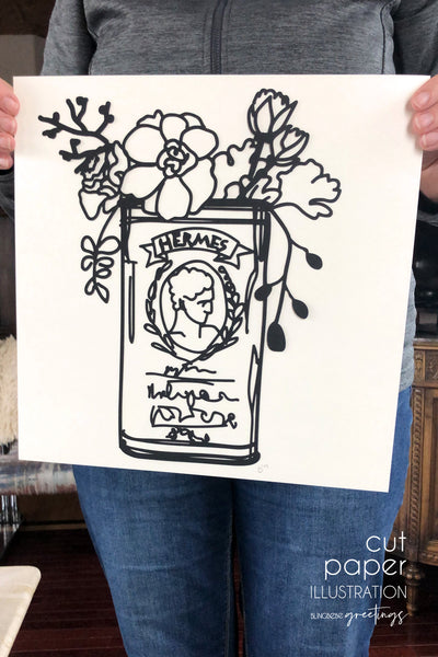 Tin Can Floral - Cut Paper Illustration