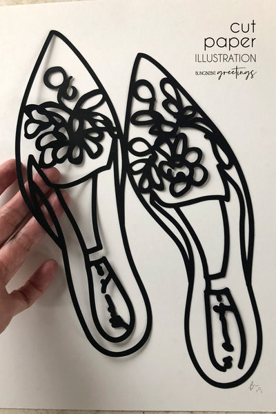 Slippers - Cut Paper Illustration