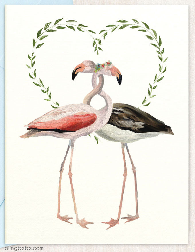 Flamingo Love - blingbebe shop ::: greetings that shine