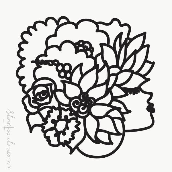 Flowerhead - Cut Paper Illustration