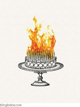 Inferno Birthday Cake - Cake on Fire - blingbebe shop ::: greetings that shine