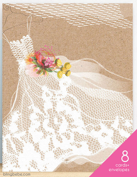 Lace Wedding Dress Box Set - blingbebe shop ::: greetings that shine