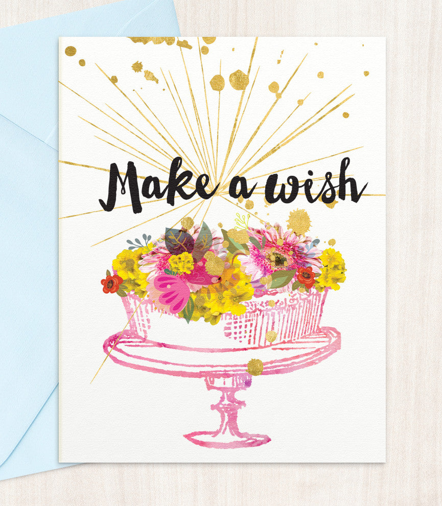 Make A Wish Birthday Card (MW88) - blingbebe shop ::: greetings that shine