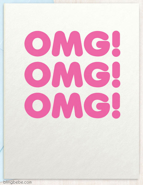 OMG! OMG! OMG! - congrats greeting card by blingbebe ::: greetings that shine - 1