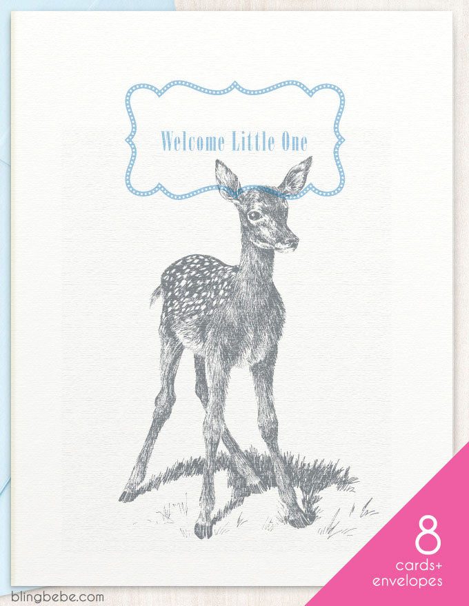 Welcome Little One - Blue - Box Set - blingbebe shop ::: greetings that shine