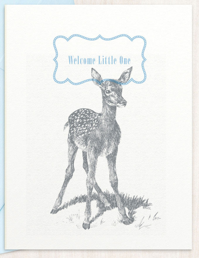Welcome Little One - Blue - blingbebe shop ::: greetings that shine