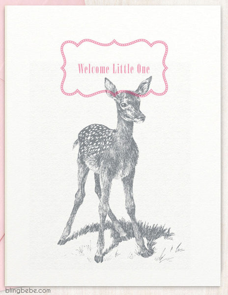 Welcome Little One - Pink - blingbebe shop ::: greetings that shine