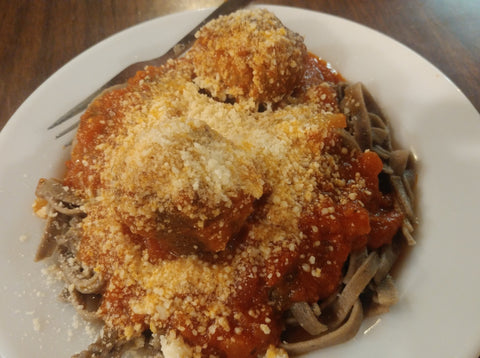 Big Brick House Pasta, Portobello Mushroom and Meatballs