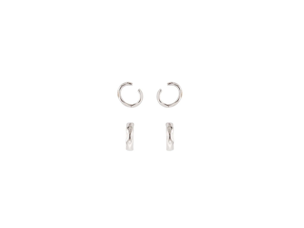 Ripple Ear Cuffs in Silver - Set of 2