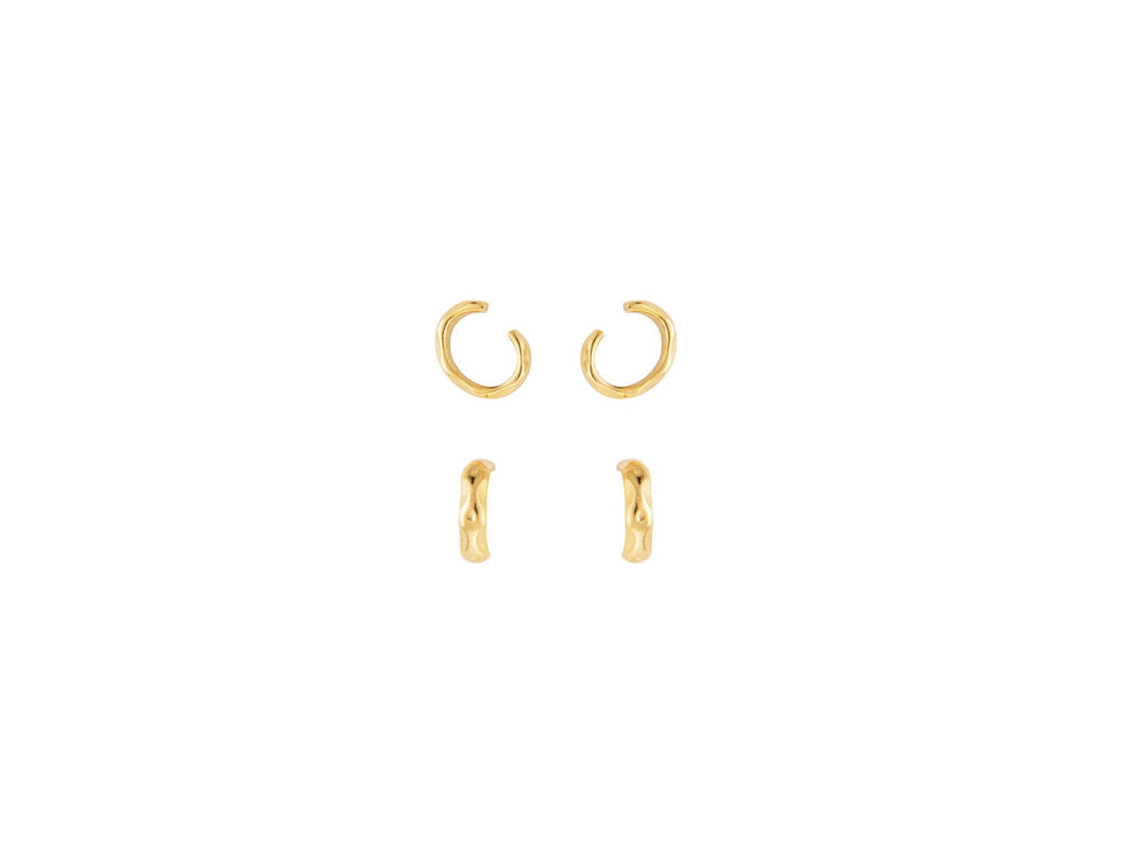 Ripple Ear Cuffs in Gold - Set of 2