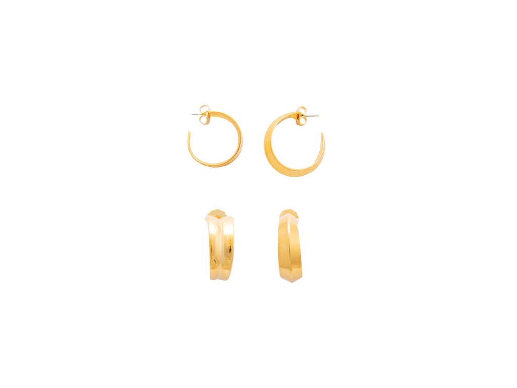 Inside Out Mis-matched Hoops in Gold