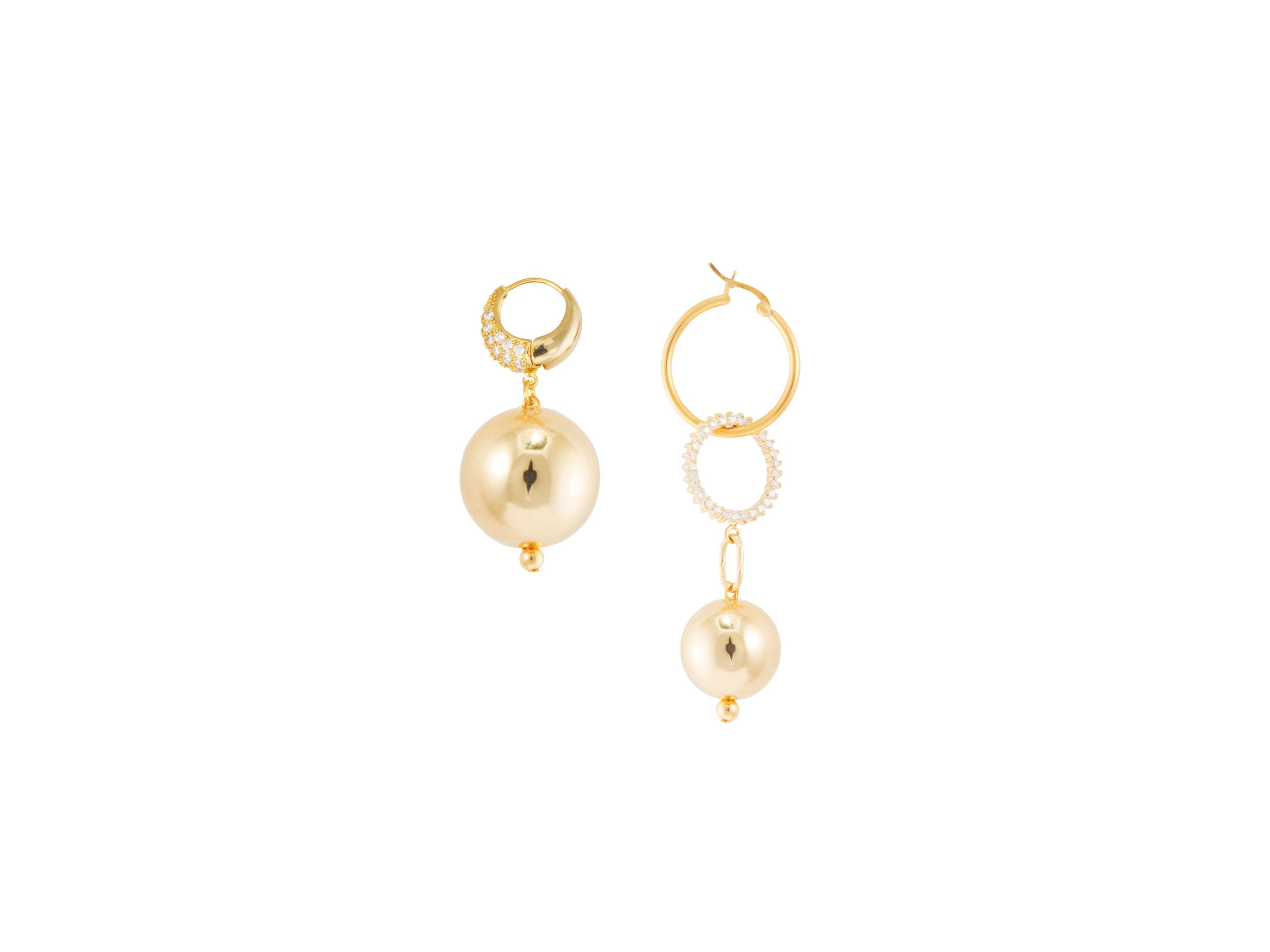 Full Moon Continuum Mismatched Earrings / Gold