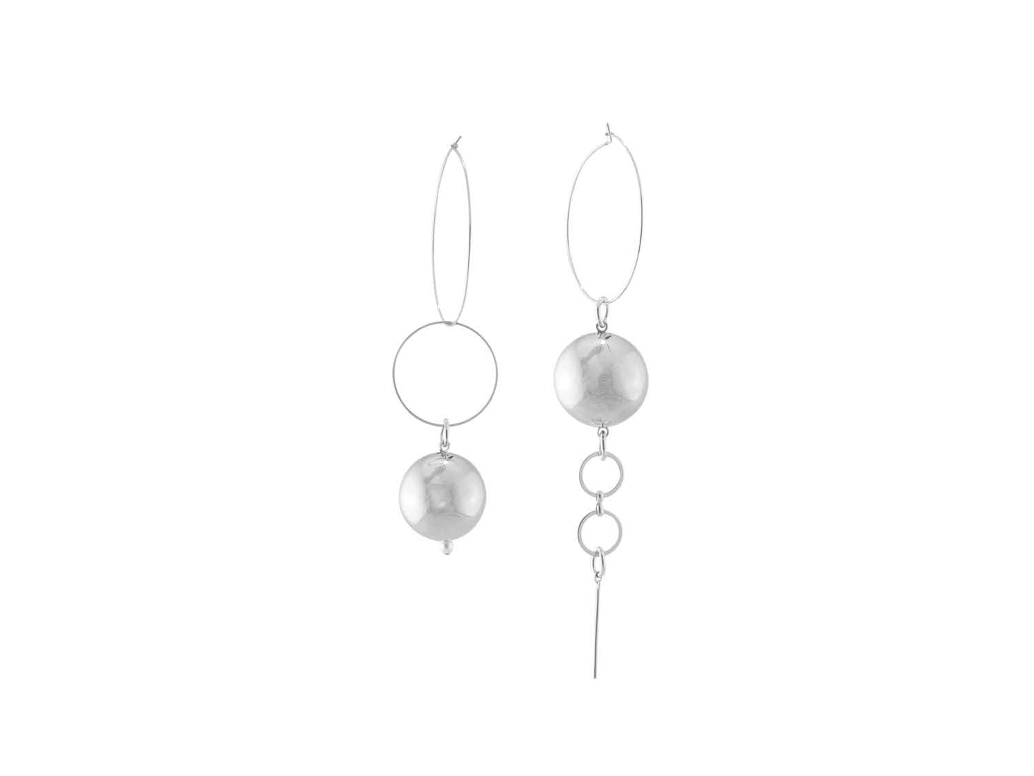 Solar Hoop Earrings / Silver
