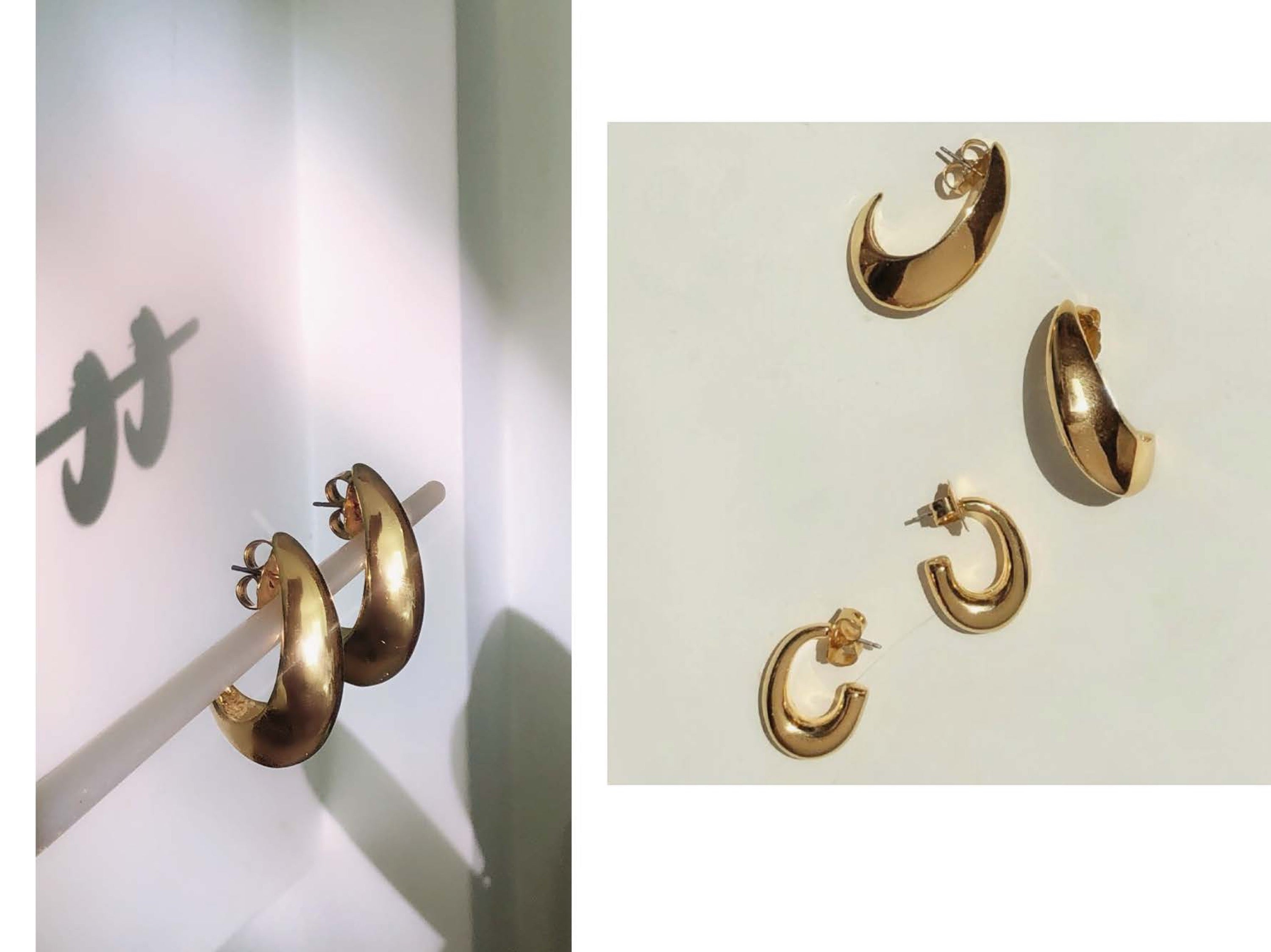 Crescent Hoops / Gold
