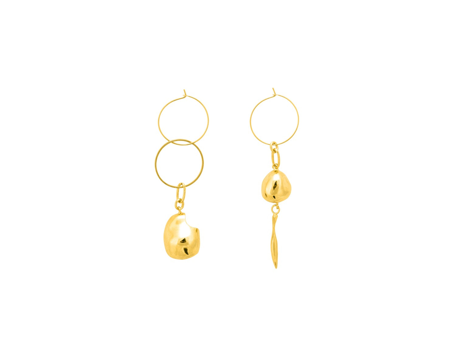 Gravel Hoop Earrings / Gold