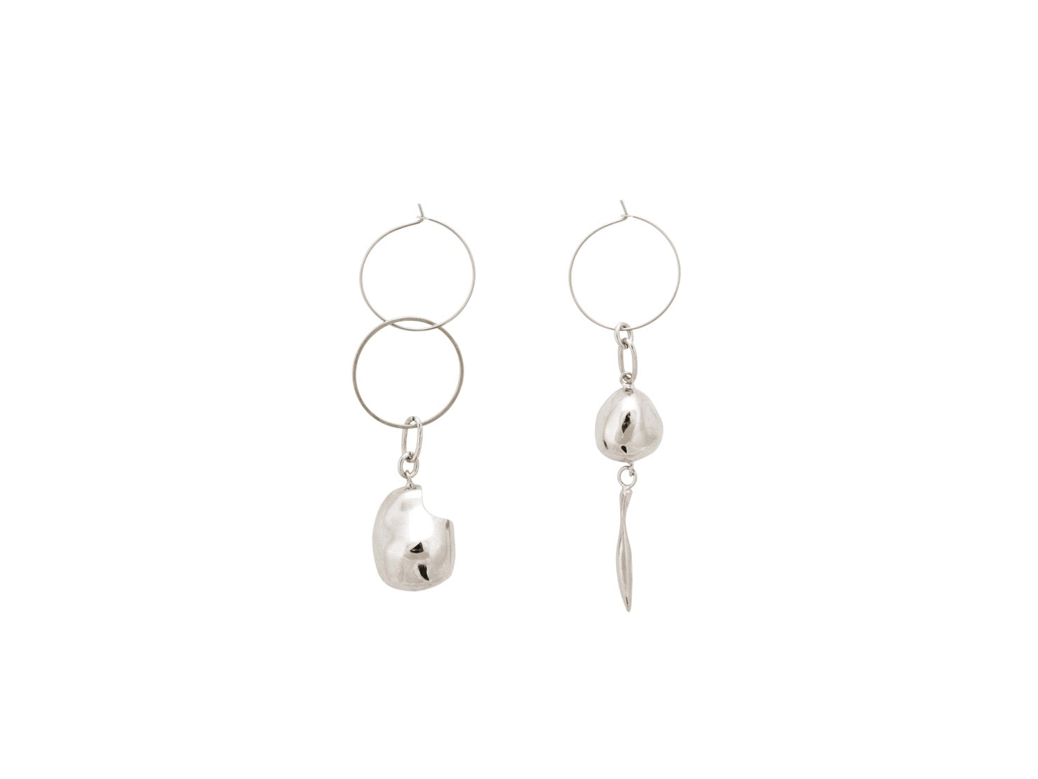 Gravel Hoop Earrings / Silver