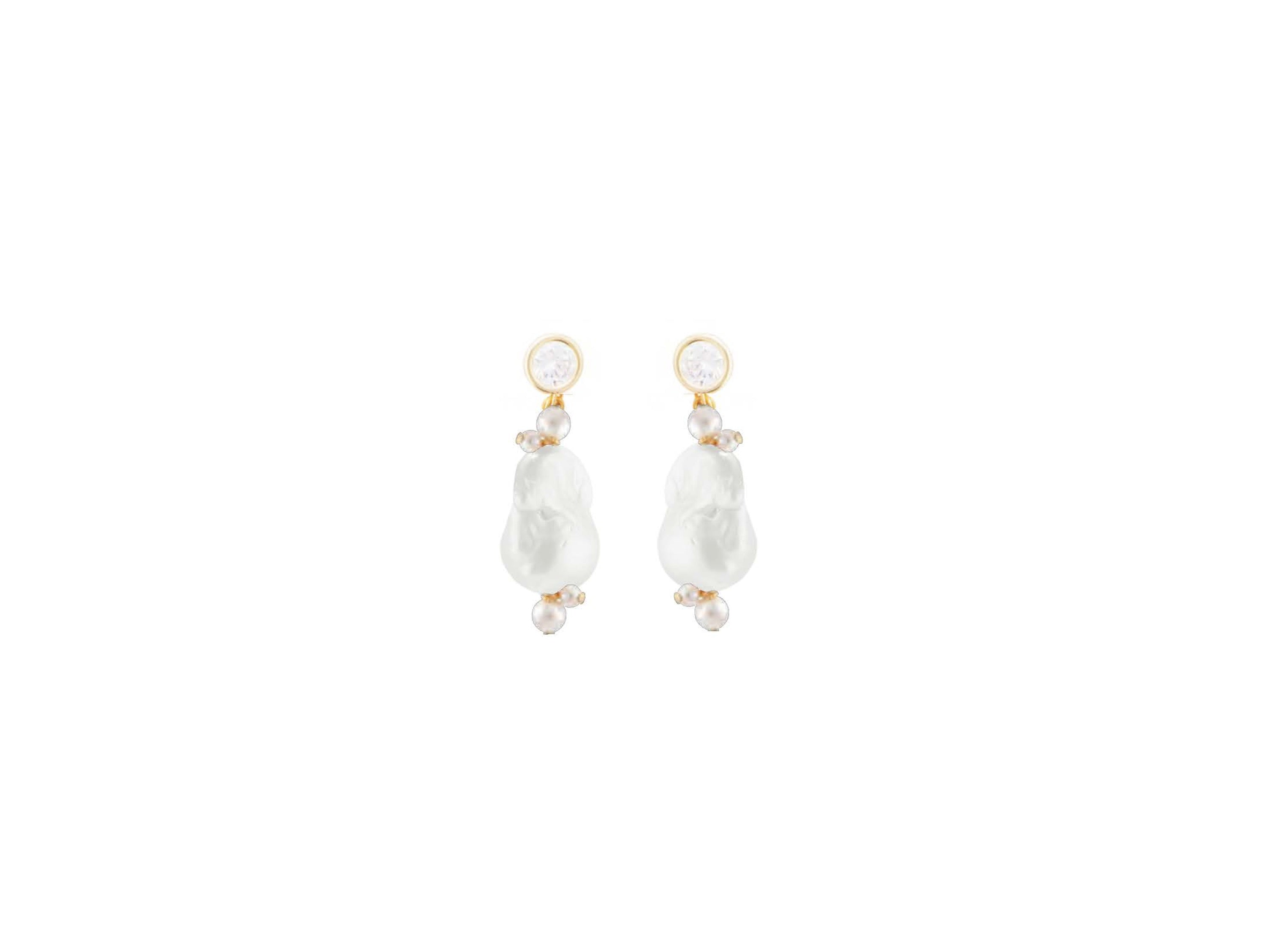 Overflow Drop Earring / White & Gold