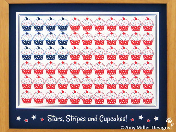 Stars Stripes and Cupcakes Print by Amy Miller Designs