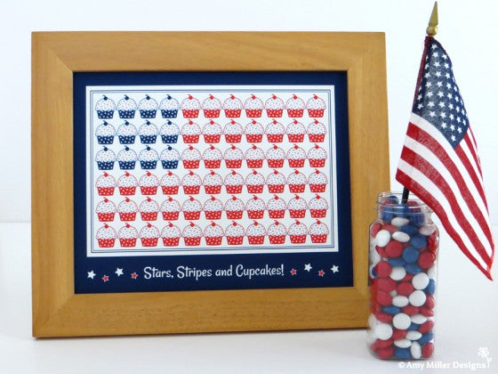 4th of July Cupcake Flag Print by Amy Miller Designs