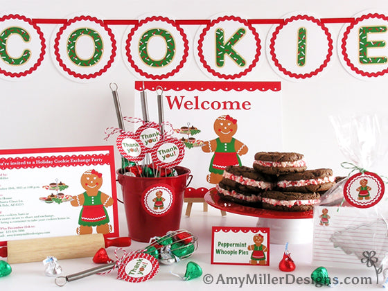 Cookie Exchange Gingerbread Woman Thememed Printables by Amy Miller Designs