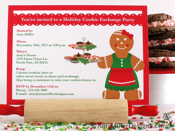 Cookie Exchange Gingerbread Woman Printable Invitations by Amy Miller Designs