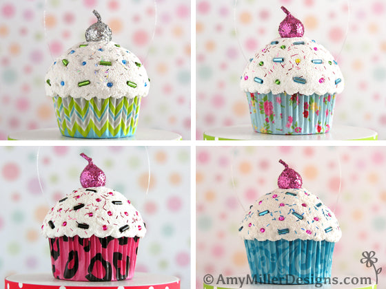 Personalized Cupcake Ornaments by Amy Miller Designs