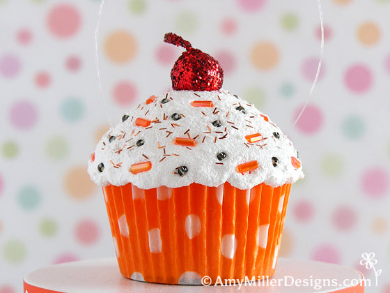 Halloween Orange Cupcake Ornament by Amy Miller Designs