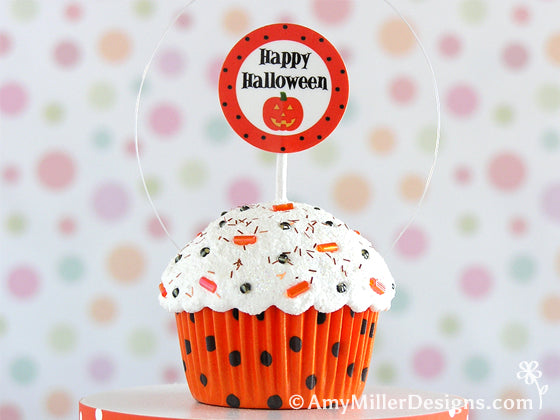 Happy Halloween Polka Dot Cupcake Ornament by Amy Miller Designs