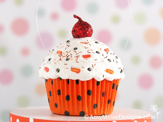 Halloween Polka Dot Cupcake Ornament by Amy Miller Designs