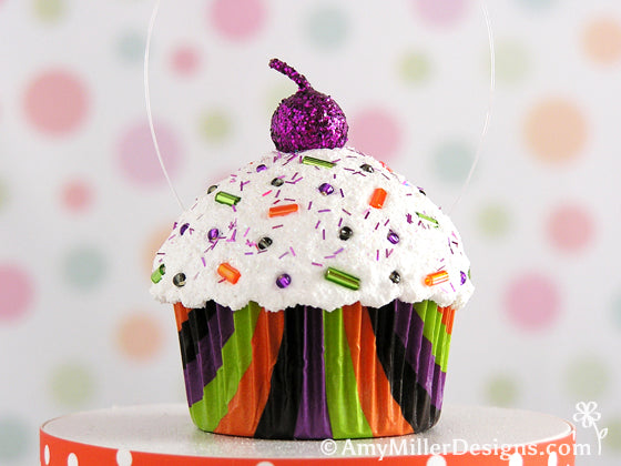 Halloween Stripe Cupcake Ornament by Amy Miller Designs