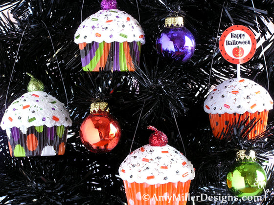 Halloween Cupcake Ornaments by Amy Miller Designs