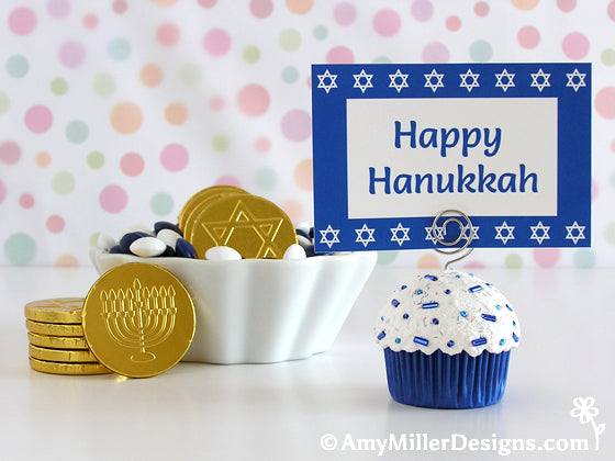 Hanukkah Cupcake Notecard and Photo Holder