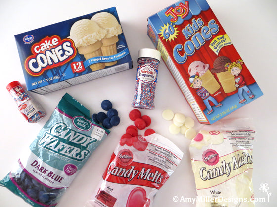 Supplies for Dipped 4th of July Ice Cream Cones by Amy Miller Designs