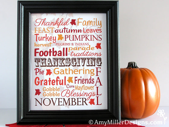 Thanksgiving Subway Artwork Print - Amy Miller Designs