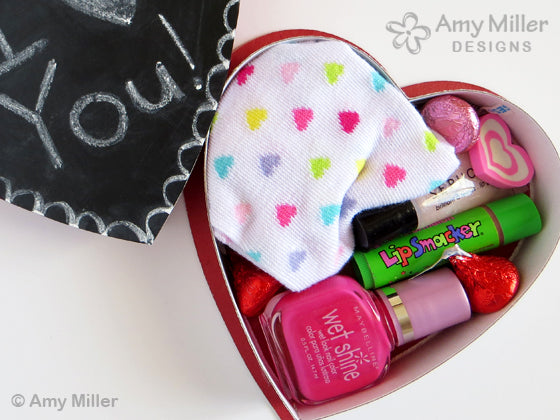 Valentine's Day Chocolate Heart Box Chalkboard Design with Fashion Gifts
