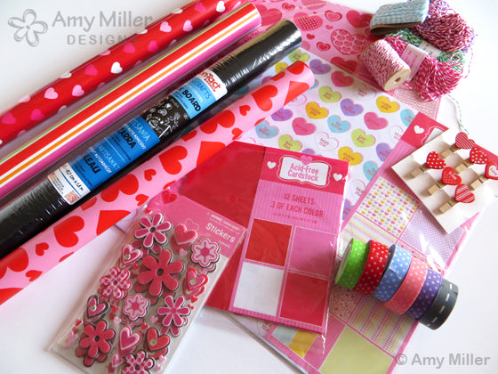 Craft supplies to dress up Valentine's Day chocolate heart boxes