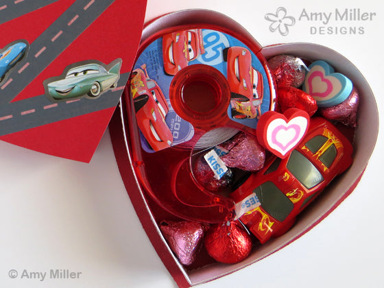 Valentine's Day Chocolate Heart Box Cars Theme Inside