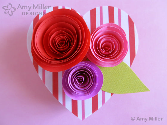 Valentine's Day Chocolate Heart Box with Paper Roses