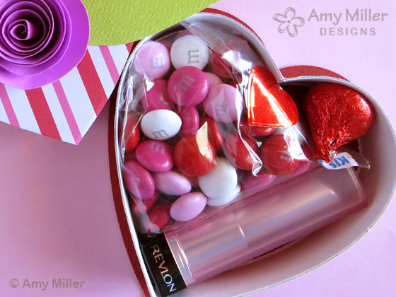 Valentine's Day Chocolate Heart Box with Paper Roses Inside