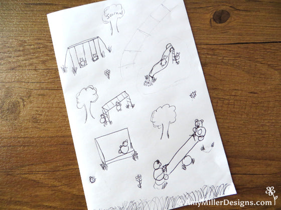 Amy Miller Designs Playground Bears Sketch