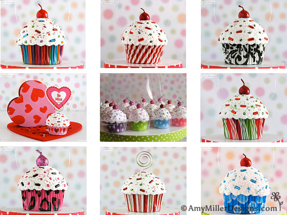 Cupcake Ornaments by Amy Miller Designs