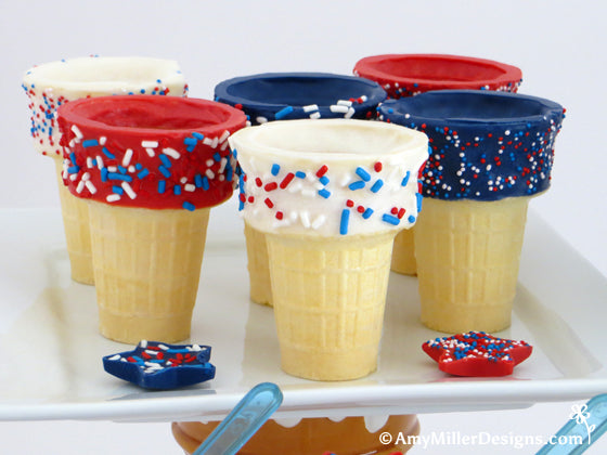 White Chocolate Dipped 4th of July Ice Cream Cones by Amy Miller Designs