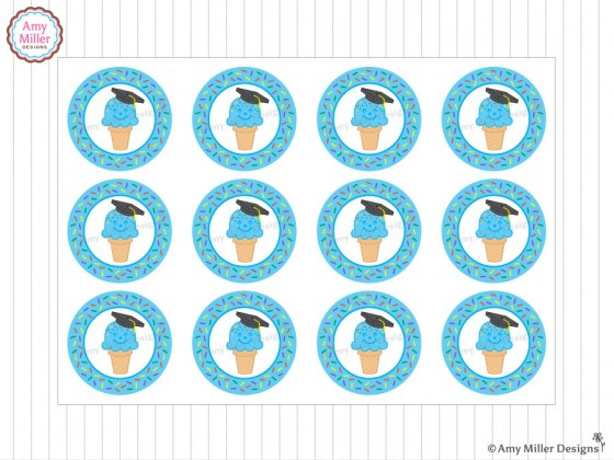 Ice Cream Cone Kindergarten Graduation Favor Tags by Amy Miller Designs