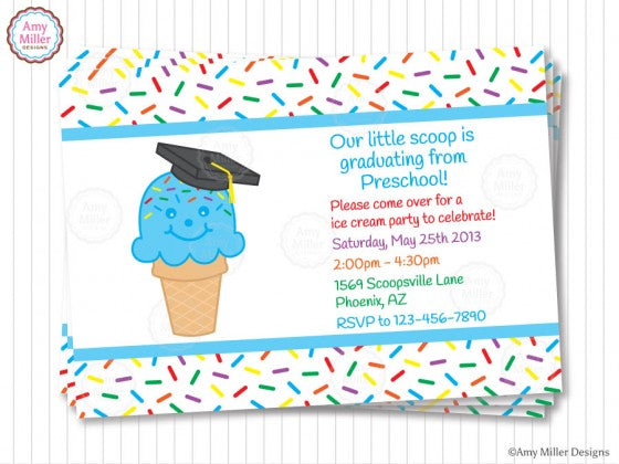 Ice Cream Cone Preschool Graduation Invitation by Amy Miller Designs